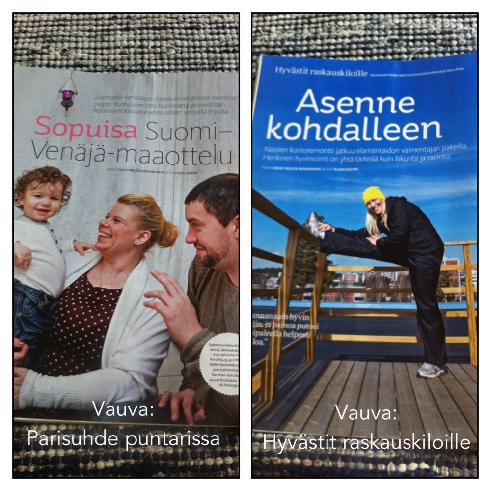 Vauva-lehdessä on juttu suomalais-venäläisestä pariskunnasta ja raskauskiloista eroon hankkiutuvien äitien elämäntaparemppaa.