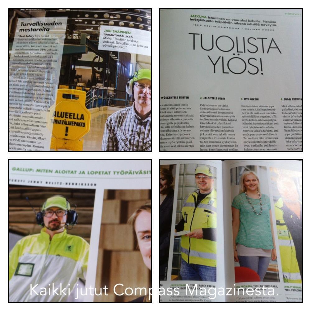 UPM:n Compass-lehteen tein jutun istumisen vaarallisuudesta sekä haastattelin heidän alansa ammattilaisia eri artikkeleihin.